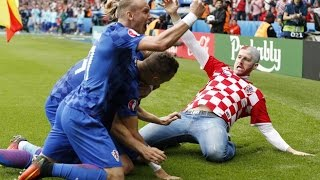 crazy croatian fan joins the players on the pitch to celebrate