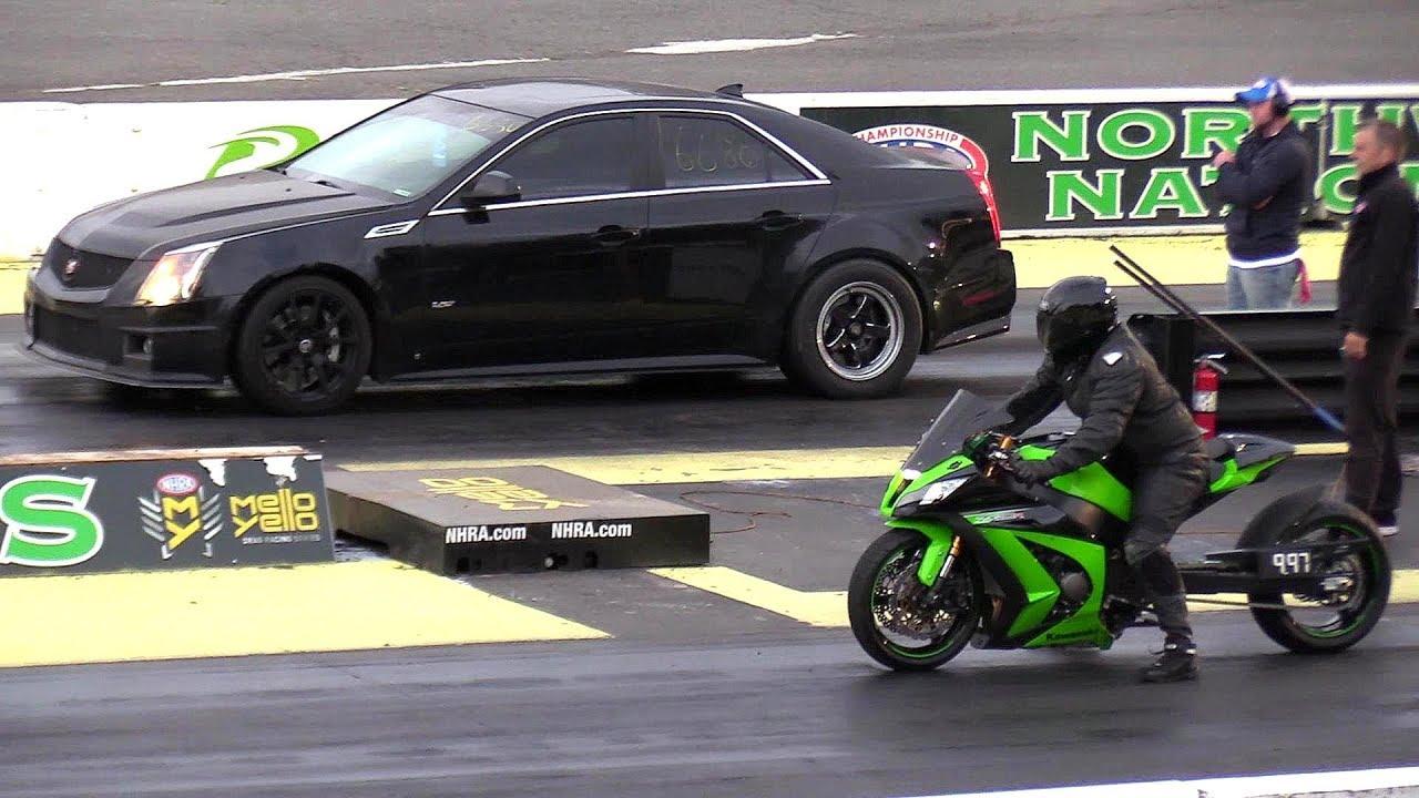Kawasaki Ninja Vs Cts V Cadillac Crazy Drag Race Car Vs Motorcycle