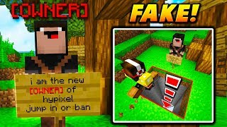 FAKE HYPIXEL OWNER RANK TRAP! - Minecraft SKYWARS TROLLING (NEW YOUTUBE RANK!)
