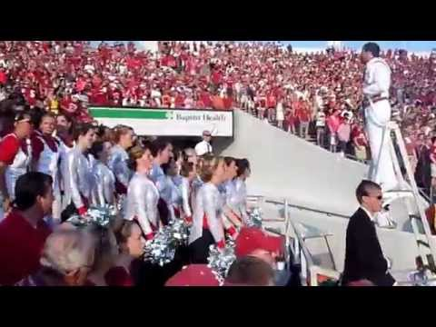 Arkansas Razorback Marching Band Jams with Fans In Stands at Football Game