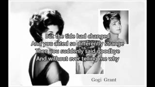 GOGI GRANT - When The Tide Is High(1956)with lyrics