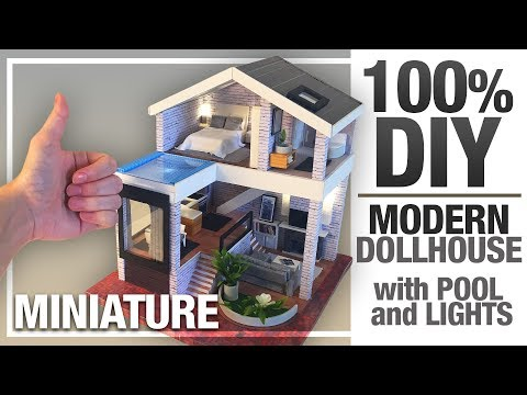 DIY MINIATURE SEATTLE DOLLHOUSE | MY MODERN VERSION with Pool And Led-Lights 100%DIY