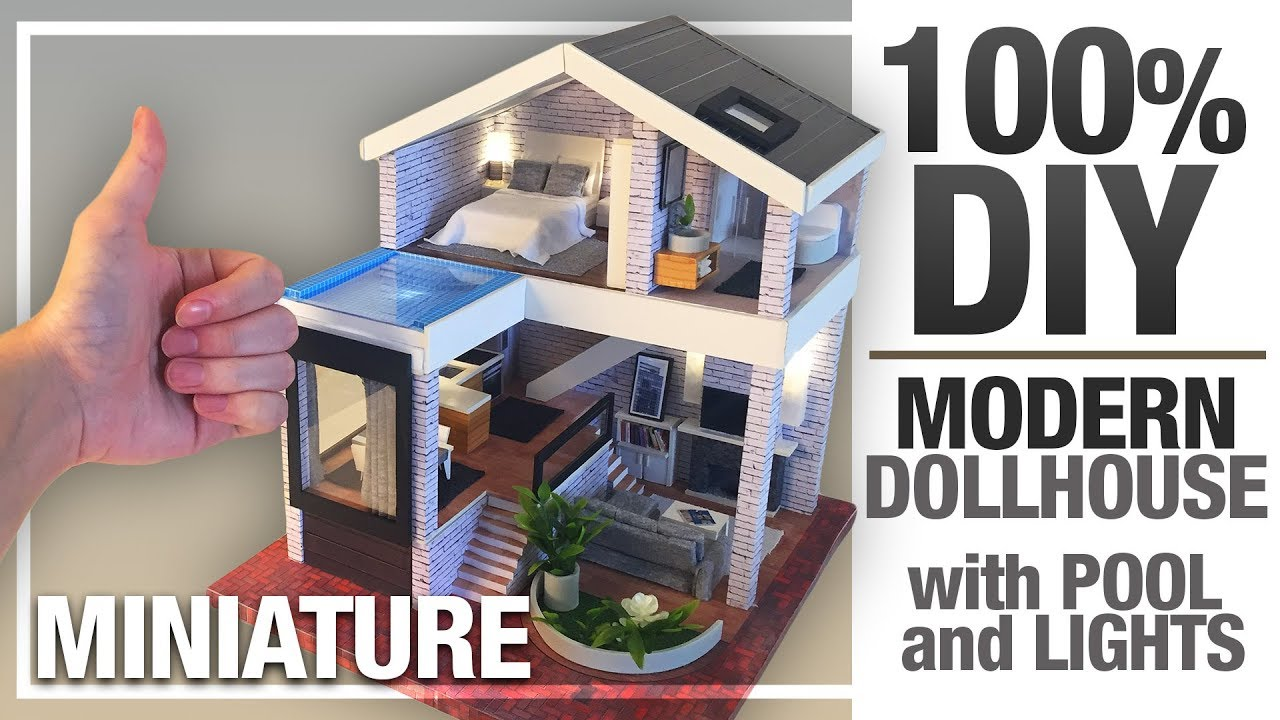 Diy Miniature Seattle Dollhouse My Modern Version With Pool And Led Lights 100 Diy Youtube