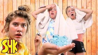 Sauna Challenge Calamity! SuperHeroKids Funny Family Videos Compilation