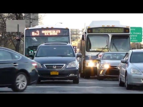 MTA NYCT Bus: 2003 Orion VII CNG Bx36 #7646 & 2016 Nova-LFS Bx3 #8374 at Amsterdam Ave