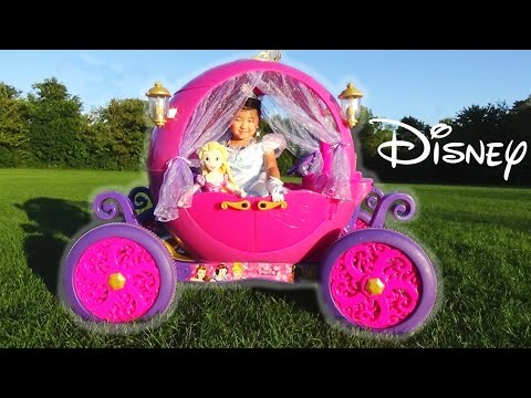 Thumbnail: Disney Princess Carriage Ride-on Powerwheels 24v Dynacraft with Cinderella and Rapunzel toys