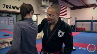 Everyone needs to know some self defense and The Martial Way is here to teach us. This video deals with how to get behind someone who's in front of you using the arm drag technique. Once you're behind them, take em' down.