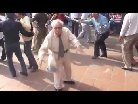 Funny old guy dancing