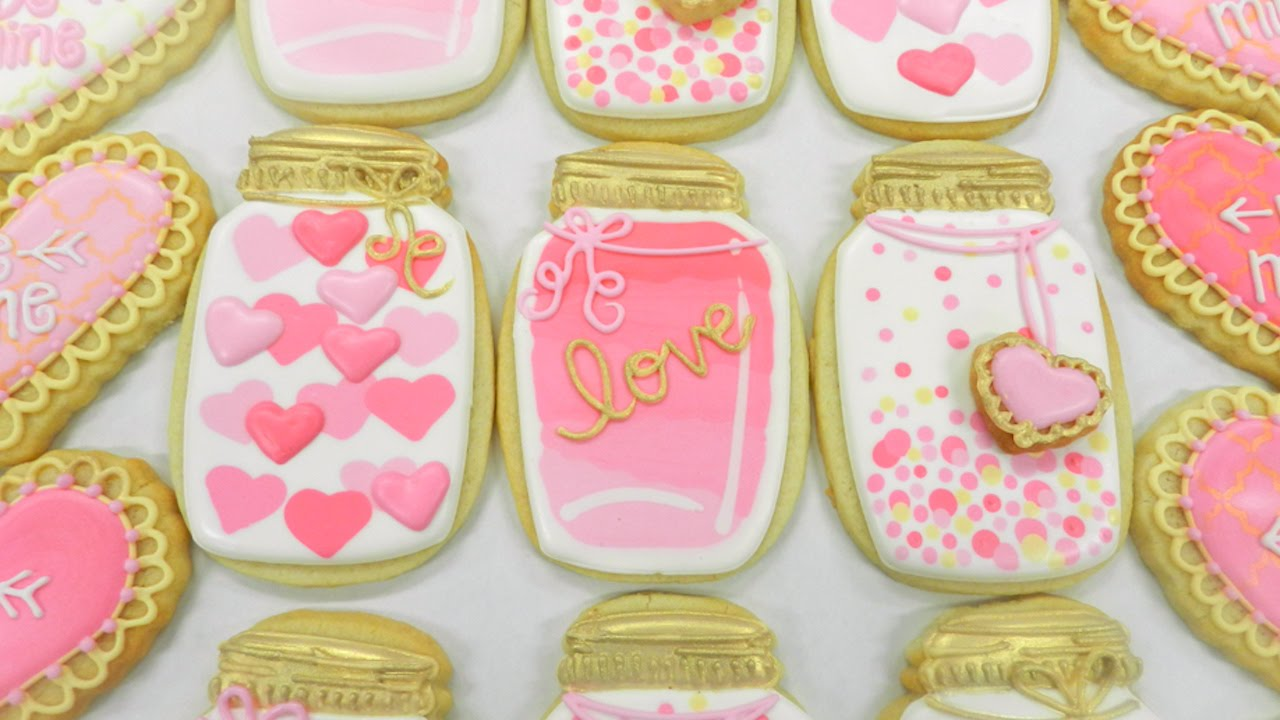 how to decorate a pink and gold mason jar cookie youtube