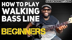 How to Play A Walking Bass Line Lesson | Bass Guitar for Beginners | Daric Bennett