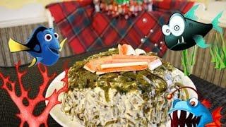 """Салат из морской капусты и крабовых палочек """"Морское Дно"""", очень вкусный  #салат"""