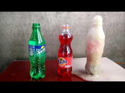 Ujicoba coca cola + fanta + sprite dengan mentos