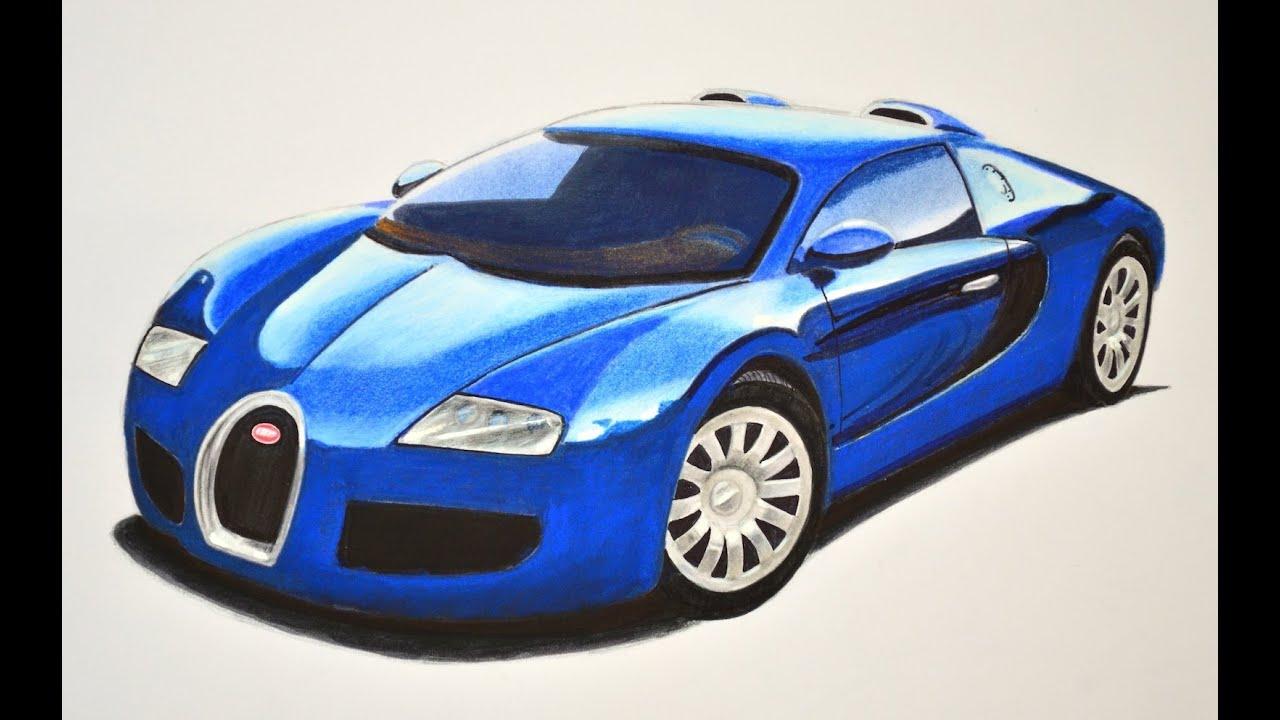 Dibujando Carros Deportivos Cómo Dibujar Un Bugatti Con Colores Arte Divierte