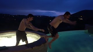 HE PUSHED HIM IN THE POOL!!