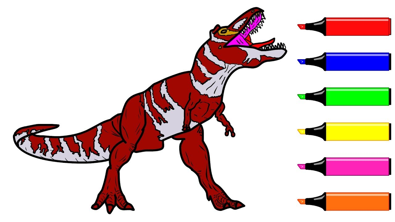 Drawing and Coloring Dinosaur Coloring pages For kids Toddlers ...