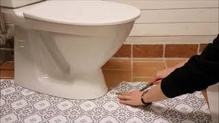 Golvvinyl vid toalett