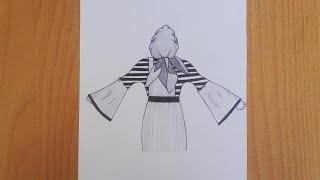 Tesettürlü kız çizimi / Kapalı kız çizimi /Güzel elbiseli kız çizimi