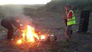 Population Pods drummer plays burning drum kit