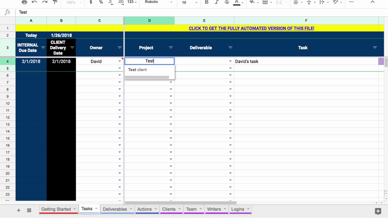 Google Sheets Project Management Template Youtube