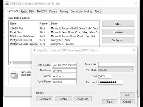 PostgreSQL - Set up a connection to PostgreSQL database using ODBC Data  Source Administrator
