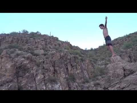 Cliff jumping at Canyon Lake AZ - 60 foot front flip 180