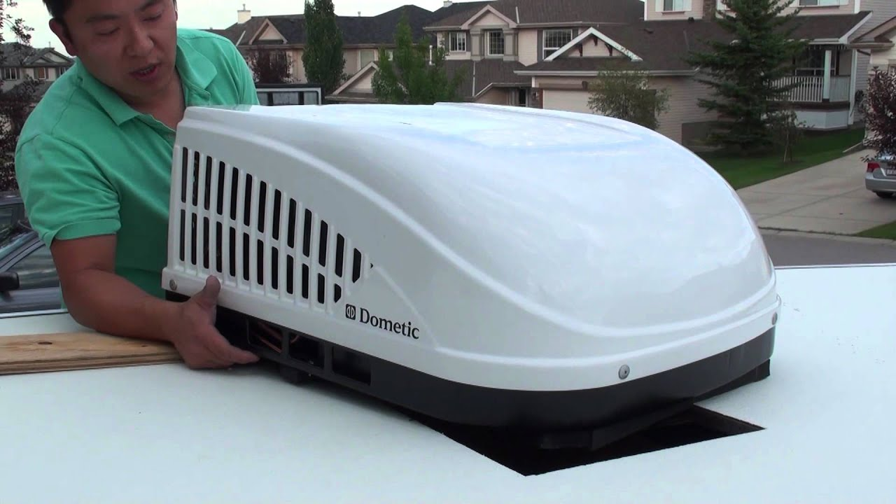 install a rv roof top a c unit on a forest river pop up camper tent trailer [ 1280 x 720 Pixel ]