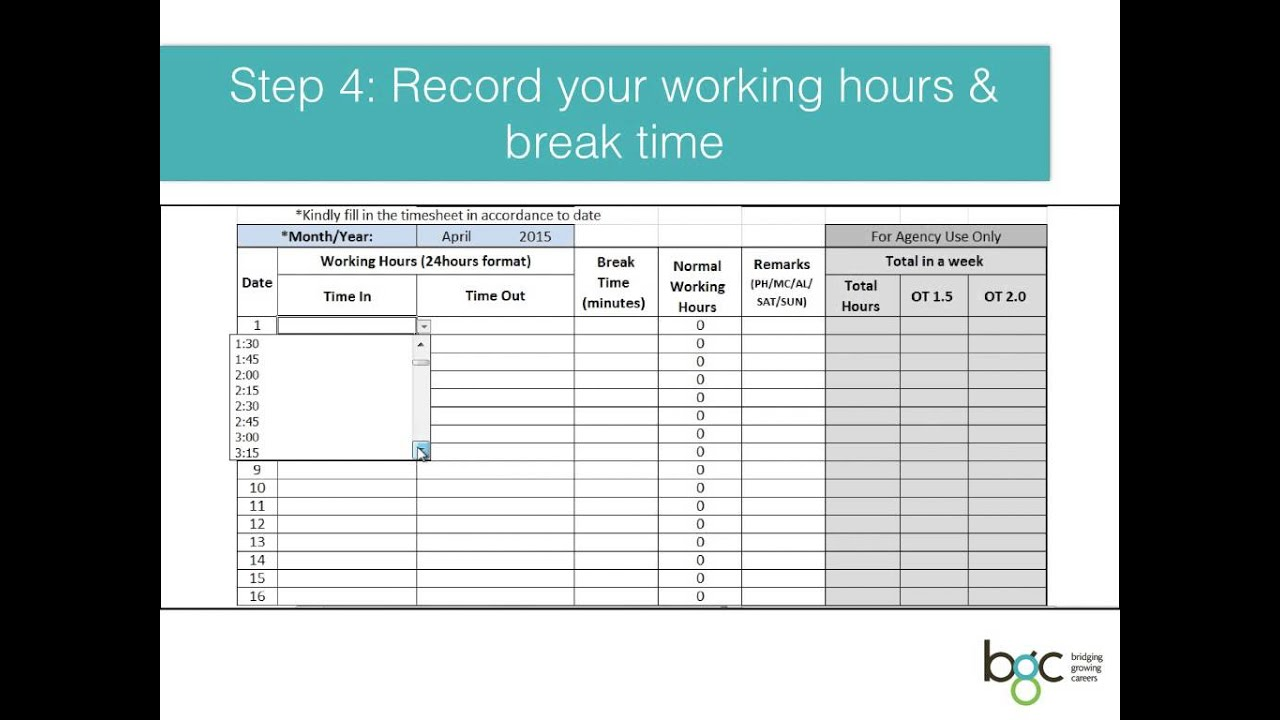 excel timesheet 2015