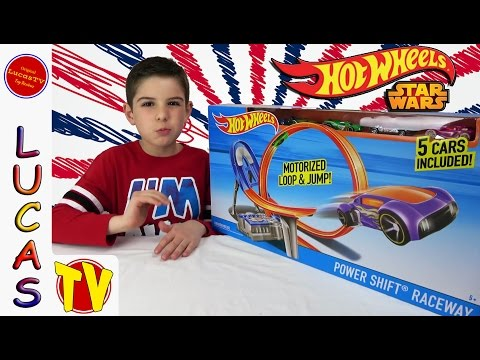 Hot Wheels Power Shift Raceway 5 cars plus Luke Skywalker Hot Wheels Car Racing Speed Build & Review