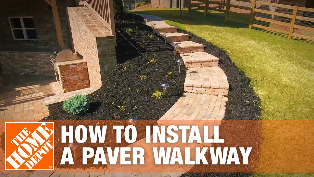 How To Install A Paver Walkway The Home Depot Youtube