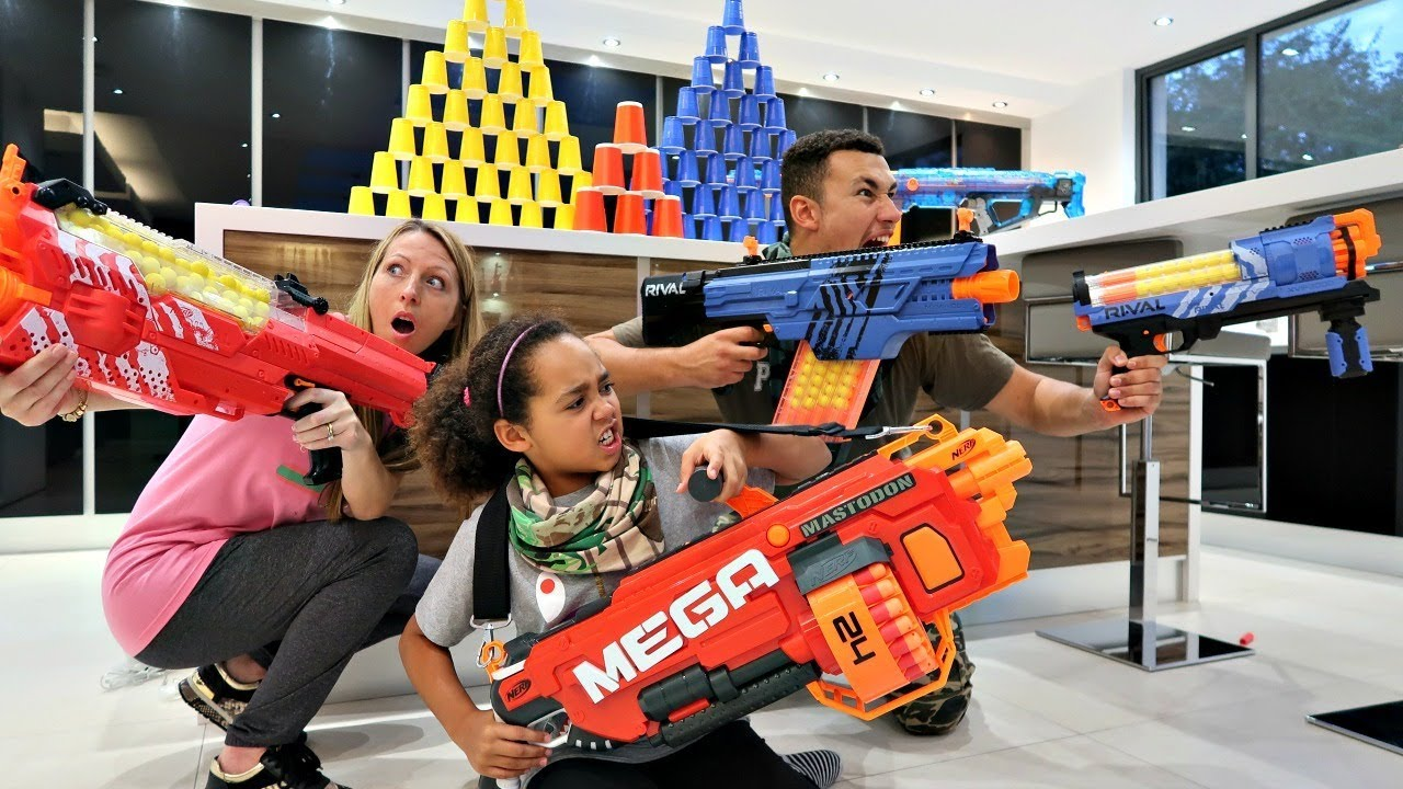 Top 10 nerf guns toy reviews for kids and parents - Bad Kids Vs Parents Nerf War Battle Challenge Nerf Rival Guns Famtastic