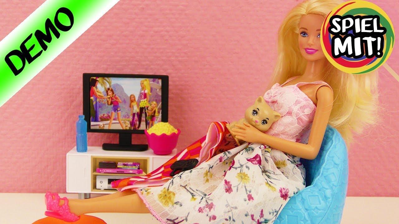 Barbies neue Möbel | Wohnzimmer mit Sessel, Fernseher & niedlichem ...
