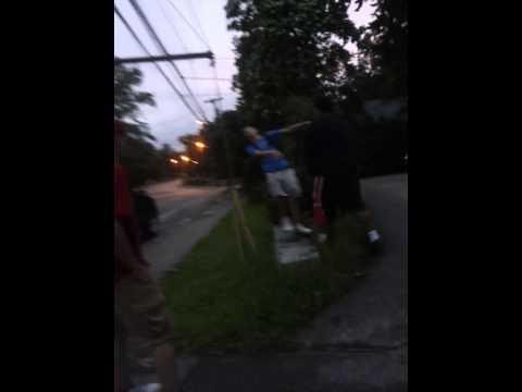 White Kid Hits Black Kid With Trash Can Youtube