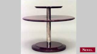 Antique French Art Deco Amboyna Wood Round 2 Tier End Table