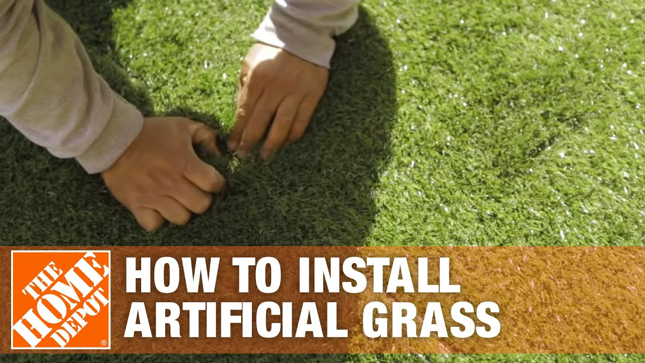 How To Install Artificial Grass The Home Depot Youtube