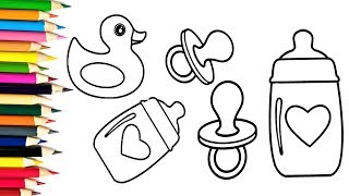 How to Draw Baby Bottle, Baby Nipple and Duck   Drawing and Coloring Pages for Kids
