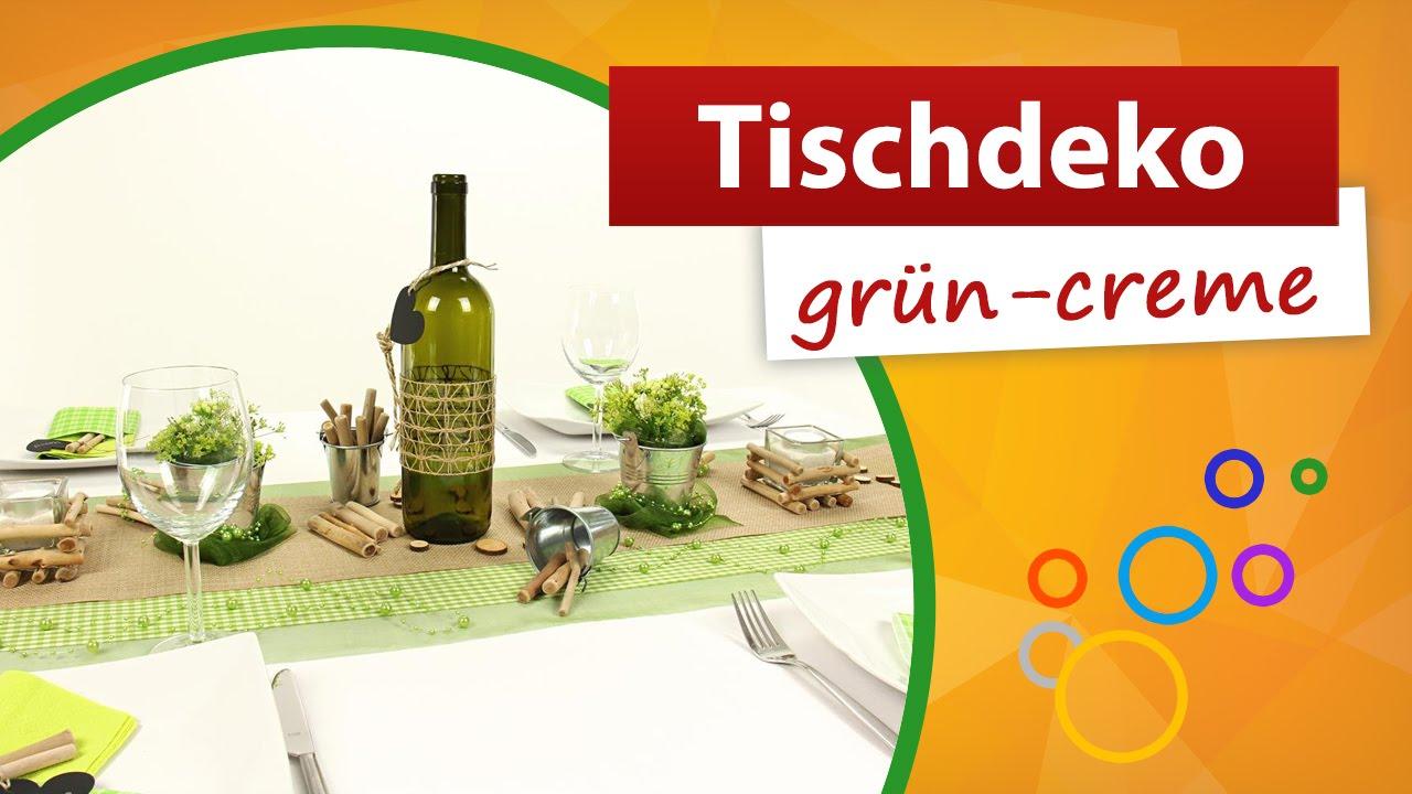 Tischdeko Grun Creme Tischdekoration Trendmarkt24 Youtube