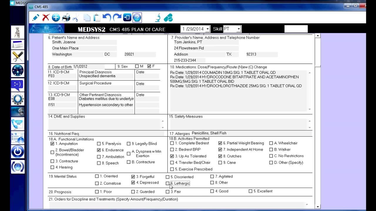 Home Health Software Cms 485 Medsys2 Youtube