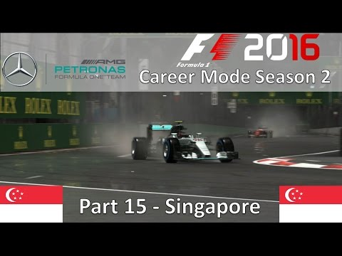 F1 2016 Career Mode Season 2 Part 15 - Singapore (Driving In A Storm)