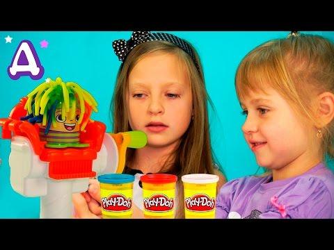 Парикмахерская Плей До. Играем в игру Сумасшедшие прически. Play-Doh Crazy Cuts. Плей до игрушки.