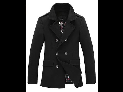 Men's Pea coat jacket for winter trench overcoat 2015 style - YouTube