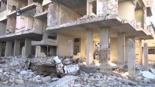 وكالة قاسيون  قصف الطيران الروسي يخلف دماراً هائلاً في مدينة زملكا 7-12-2015