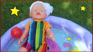 Kids Pretend Play with pool toys 😢My pool is better! Stories for Kids