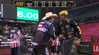Matt Triplett rides Blue Stone for 87.25 points (PBR)
