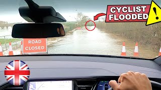 self driving behind a cyclist on a flooded road... this is crazy! | Tesla Autopilot FSD Model X UK