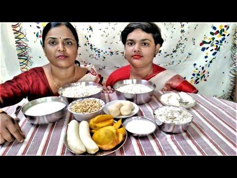 Eating Food Menu At Bengali Dosohara | Muri | Murki | Dudh | Kola | Aam | Doi | Chire | Rosogolla