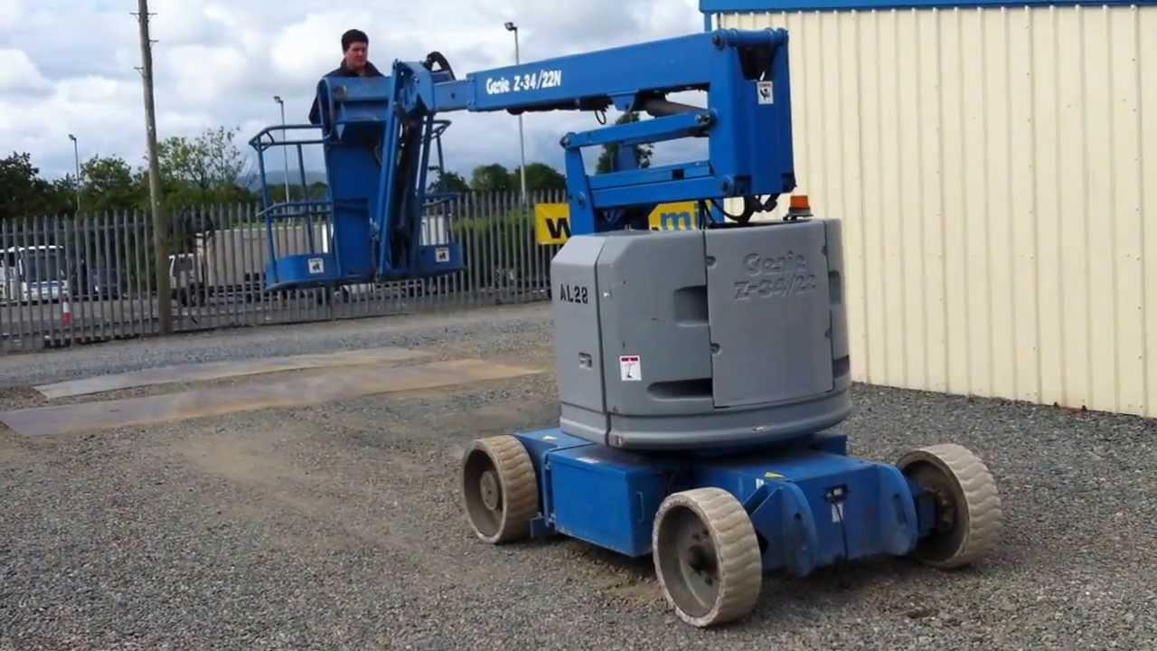 Battery Bucket Lift : Genie z n battery operated boom lift youtube