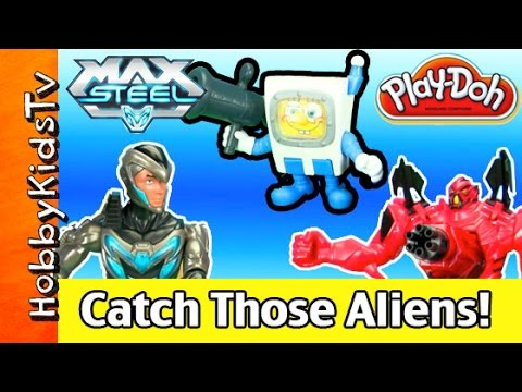 Play-Doh SpongeBob! Max Steel + Space Aliens Capture. Fun Toys HobbyKidsVids