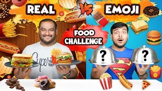 FOOD EMOJI VS REAL FOOD EATING CHALLENGE | Food Emoji Food Eating Competition | Food Challenge