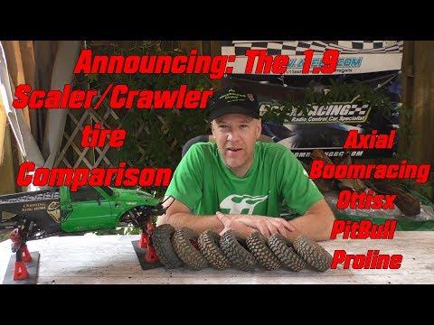 1.9 Crawler Tire Comparison intro Axial Boomracing Ottsix PitBull Proline Head to head