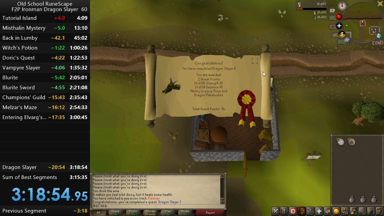 Download Old School Runescape F2P Ironman Dragon Slayer speedrun in 3h 18min 54s (WR at the time)